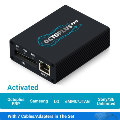Octoplus Pro Box with 7 in 1 Cable/Adapter Set (Activated for Samsung + LG  + eMMC/JTAG + FRP Tool + Unlimited Sony Ericsson + Sony)