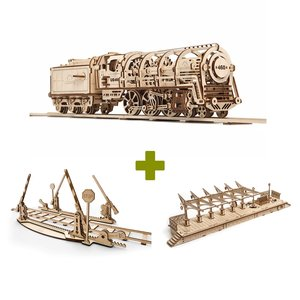 Mechanical 3D Puzzle UGEARS Bundle 3 in 1: Locomotive + Rails + Railway Platform